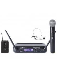 VexusCombi System Wireless UHF WM73C 2 canales con la computadora de mano, de Bodypack y Display