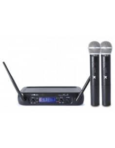 VexusSistema inalámbrico WM73 UHF de 2 canales con micrófonos de mano y Display