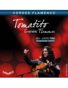 Juego de cuerdas Savarez Tomatito T50J para guitarra flamenca. Tensión fuerte.