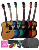 Set Guitarra Acústica + Funda + Bandolera + Afinador + Púas