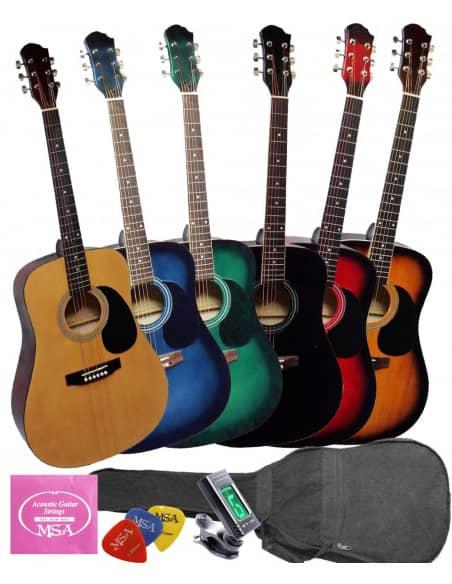 Pack Guitarra Acústica + Funda + Bandolera + Afinador + Púas