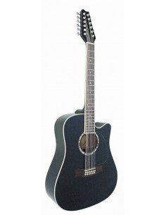 Guitarra Acústica Electrificada 12 cuerdas Negro EQ 3 bandas