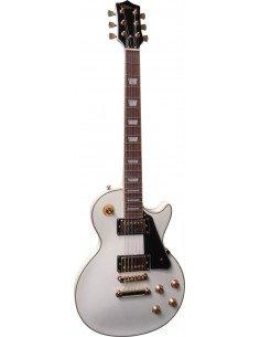 Guitarra eléctrica Les Paul deluxe blanco y herrajes dorados