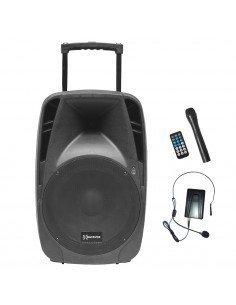 Backvox PSR15A-BT Altavoz amplificado con bateria portátil y 2 micrófonos