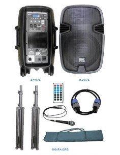 """EK AUDIO M04PA12PB Equipo PA completo 2 bafles 12"""" 400W"""