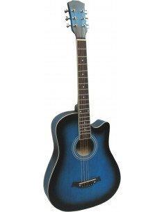 Guitarra acústica de cadete 3/4 con cutaway azul sombreado