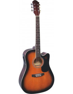 Guitarra acústica de cadete 3/4 con cutaway sunburst