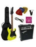 Pack de guitarra eléctrica Stratocaster verde amarillo limón satinado