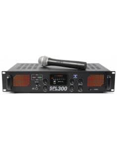 Karaoke SPL300VHFMP3 Amplificador con LEDs Ámbar + EQ Negro