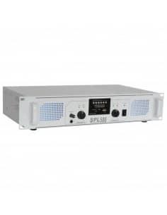 SkyTec SPL 500MP3 Amplificador con LEDs azules + EQ Blanco
