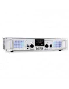 SkyTec SPL 700MP3 Amplificador con LEDs azules + EQ Blanco
